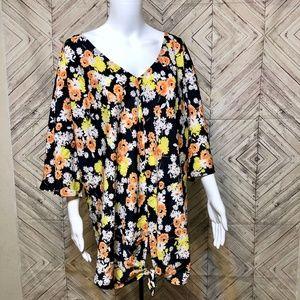 Jones New York 2X Sunny Floral tunic wrap tie hem